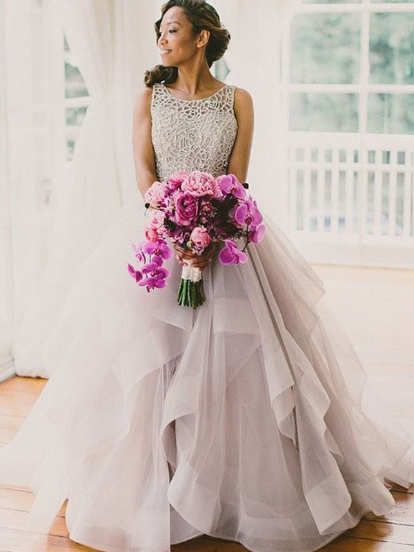 Ball Gown Sleeveless Scoop Tulle Beading Floor-Length Wedding Dresses