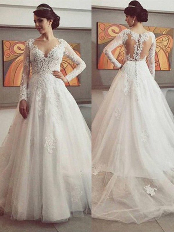 Ball Gown V-neck Long Sleeves Court Train Tulle Lace Wedding Dress