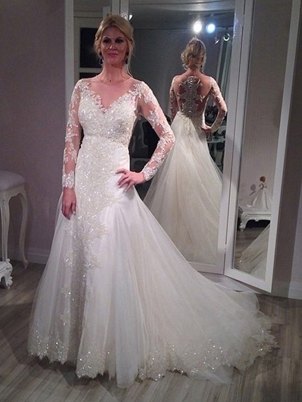 A-Line/Princess V-neck Long Sleeves Sequin Sweep/Brush Train Tulle Wedding Dress