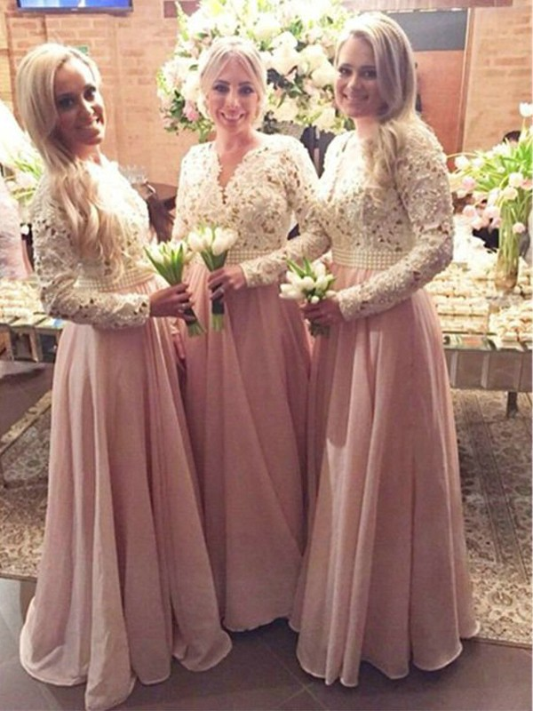 A-Line/Princess Long Sleeves V-neck Floor-Length Chiffon Lace Bridesmaid Dresses