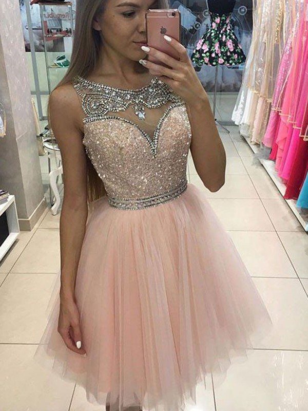 Pink A-Line Scoop Sleeveless Tulle Short Dresses With Beading