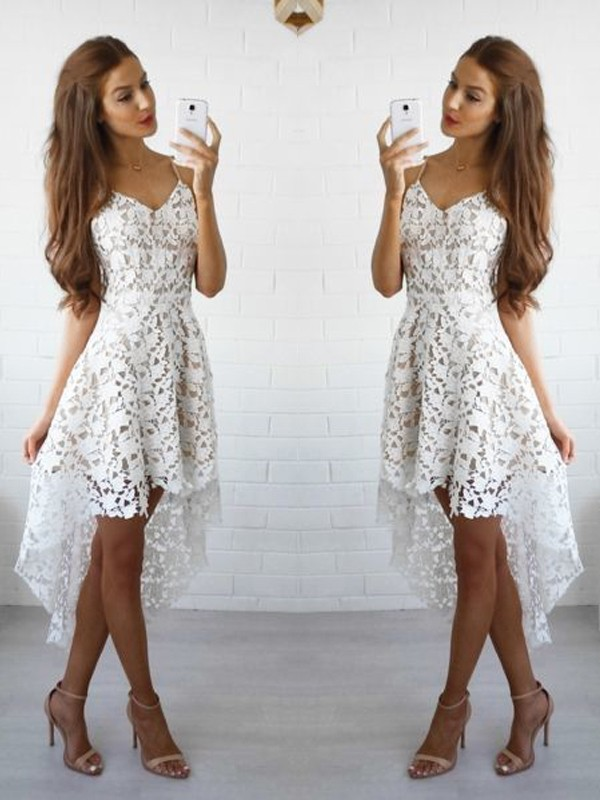 White A-Line/Princess Spaghetti Straps Sleeveless Lace Short/Mini Dresses