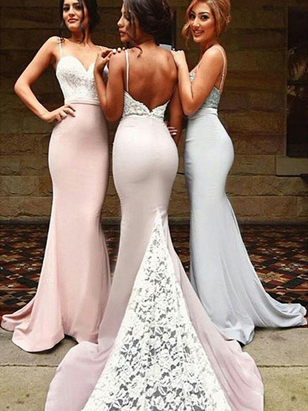 Mermaid Sleeveless Lace Sweetheart Sweep/Brush Train Spandex Bridesmaid Dresses