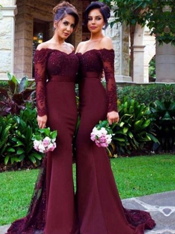 Mermaid Long Sleeves Off-the-Shoulder Satin Sweep/Brush Train Bridesmaid Dresses