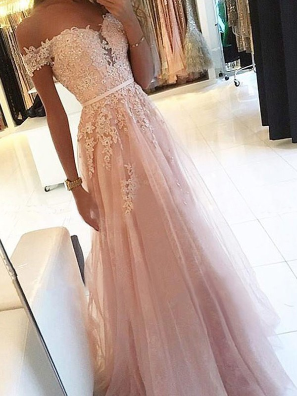 A-Line/Princess Off-the-Shoulder Floor-Length Sleeveless Tulle Dresses with Applique
